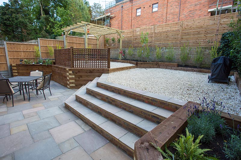 Garden decking ideas r j landscapes for Garden decking images uk